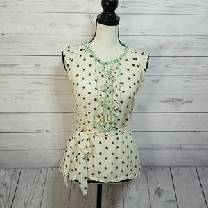 Anthropologie Odille Polka Dot Ruffle Top | Size 6